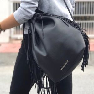 Victoria's secret black fringe backpack bag NWT